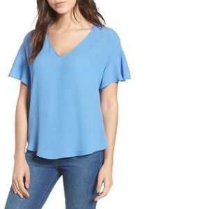 Lush V-Neck Crepe Short Sleeve Tee Shirt Blue